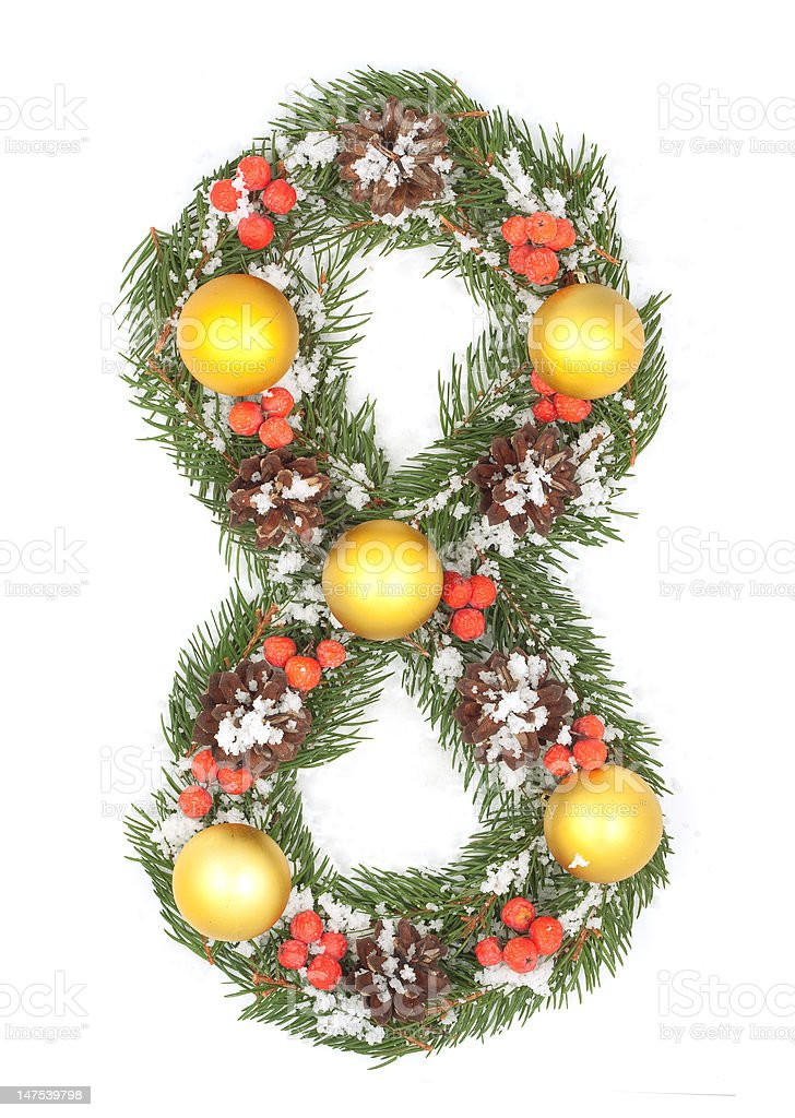 NUMBER 8 - Christmas tree decoration royalty-free stock photo