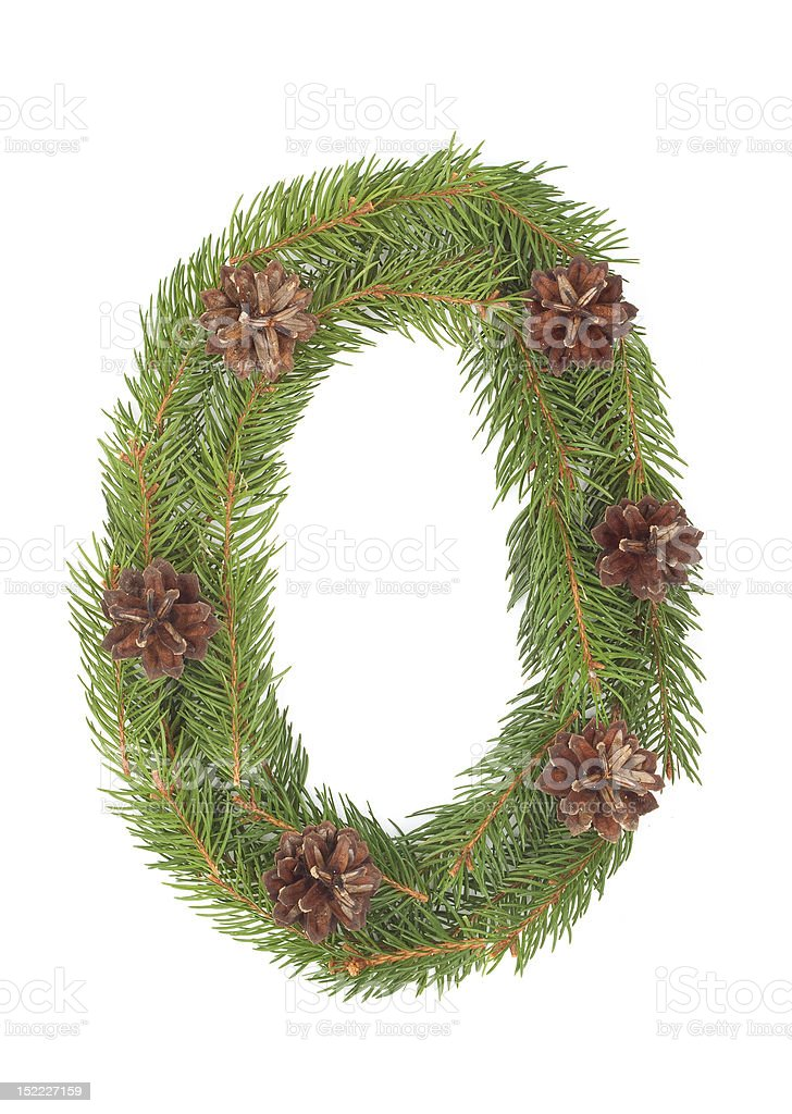 NUMBER 0 - Christmas tree decoration royalty-free stock photo