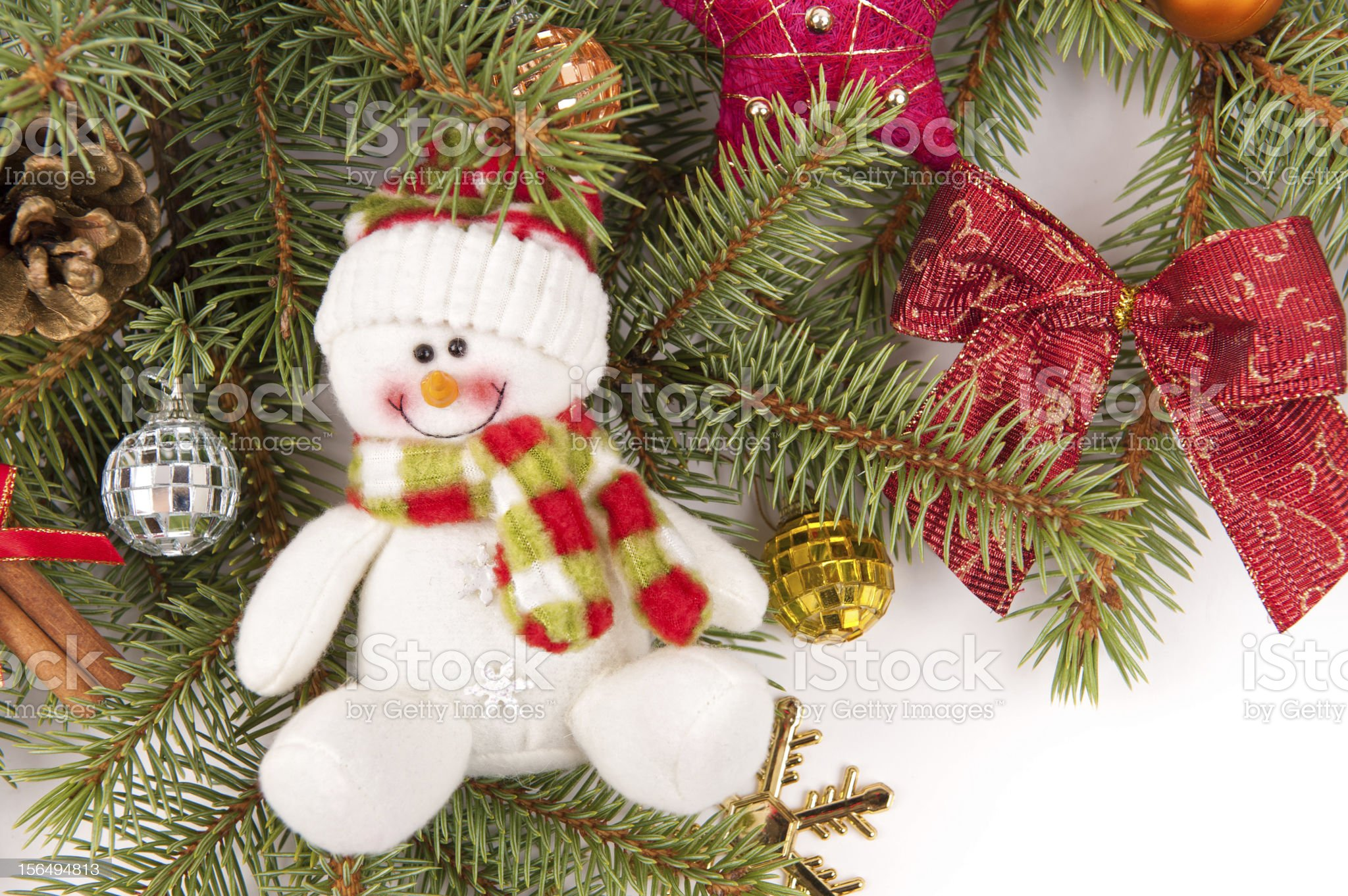 christmas tree decoration with snowman royalty-free stock photo