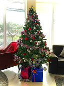 Christmas tree decorations and present boxes
