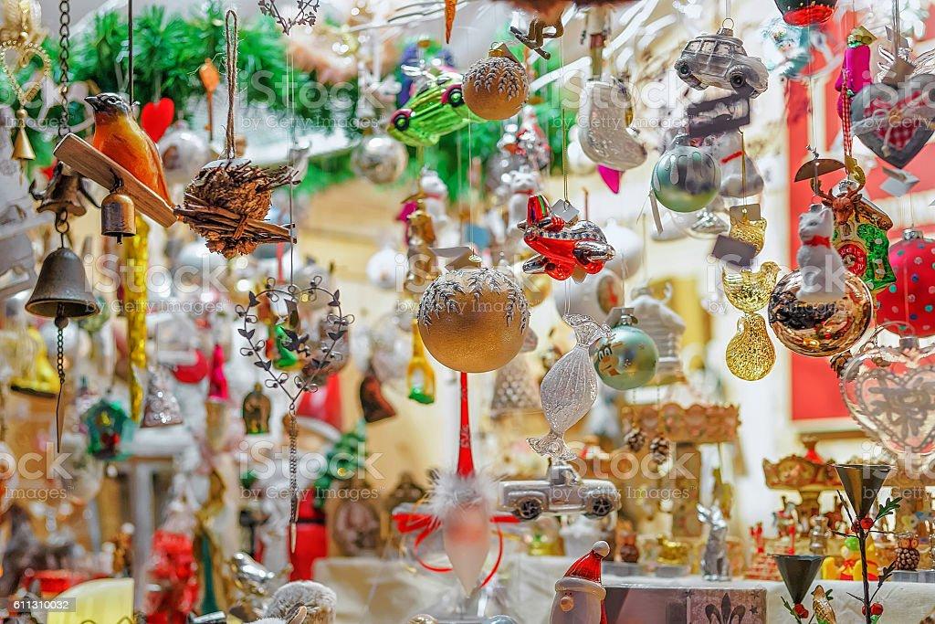 Christmas tree decorations at the Vilnius Christmas Market stock photo