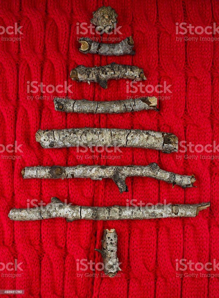 Christmas tree decorations made of sticks stock photo