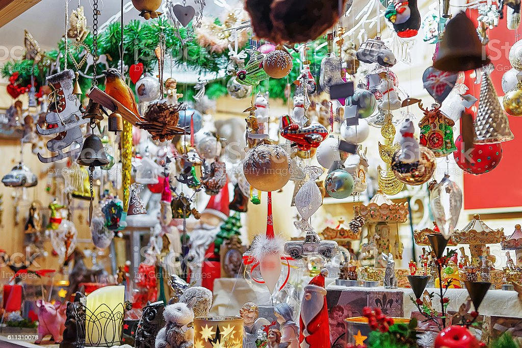 Christmas tree decorations on Vilnius Christmas Market stock photo