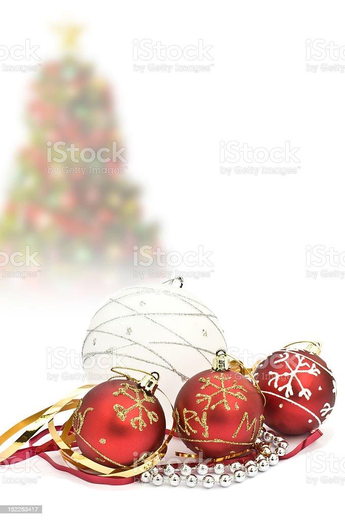 Christmas tree decorations on white royalty-free stock photo