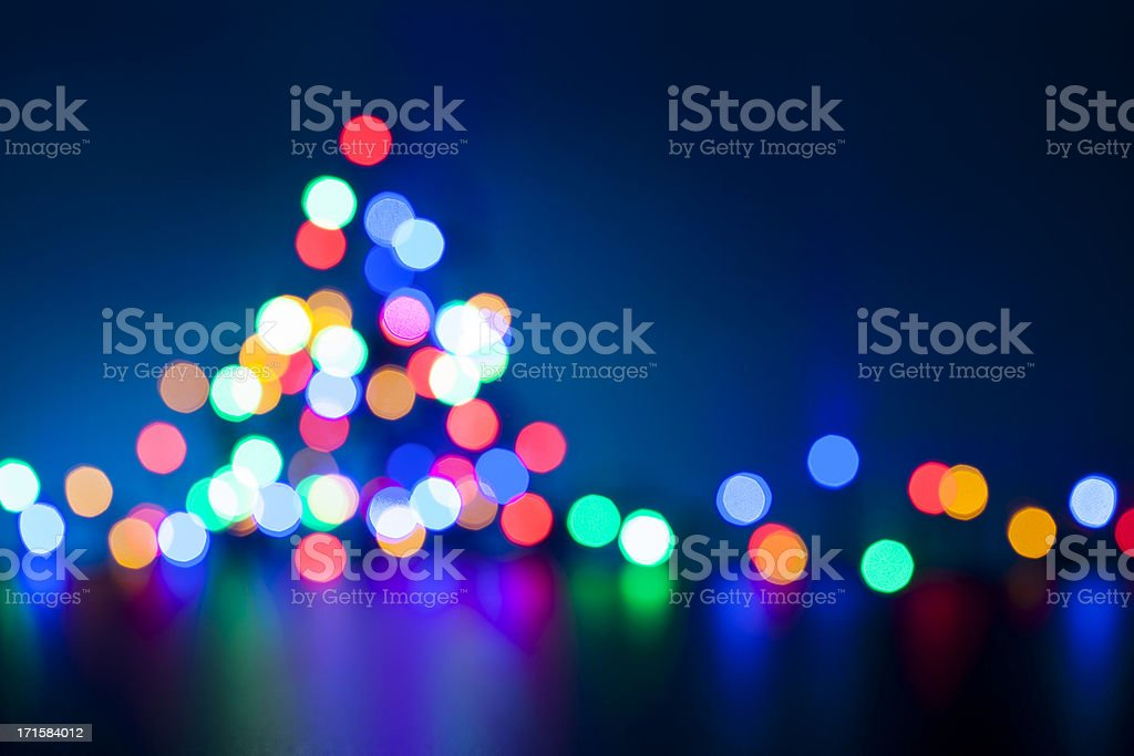 Christmas Tree - Defocused Lights Blue Multicolored royalty-free stock photo