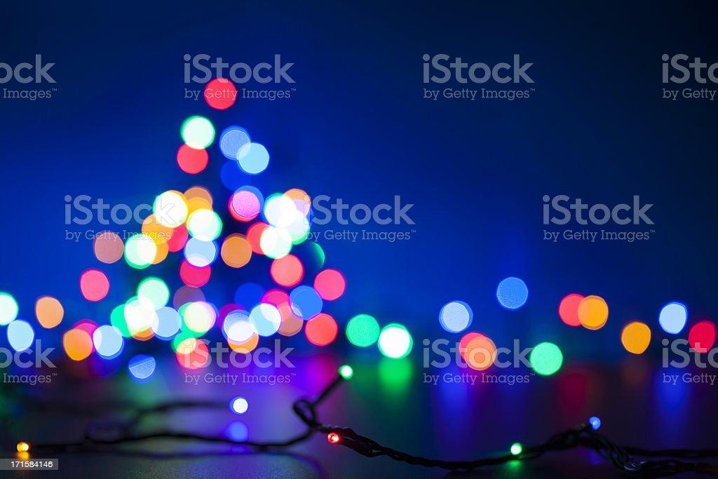 Christmas Tree - Defocused Lights Blue Multicolored royalty-free stock photo
