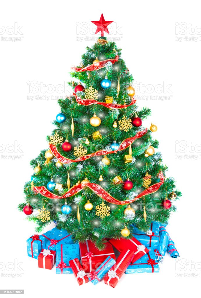 Christmas tree eco friendly ornaments, baubles, decorations and tree topper stock photo