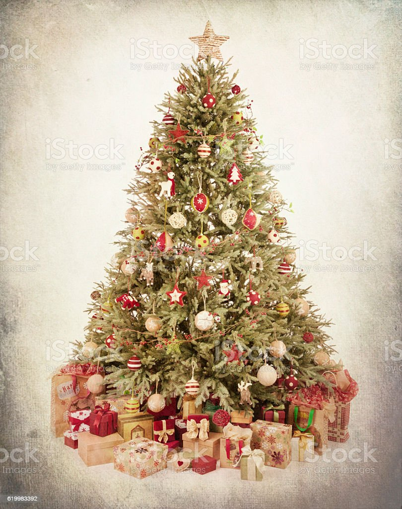 Christmas Tree Environmentally Friendly Ornaments, Decorations, and Gifts Textured Background stock photo