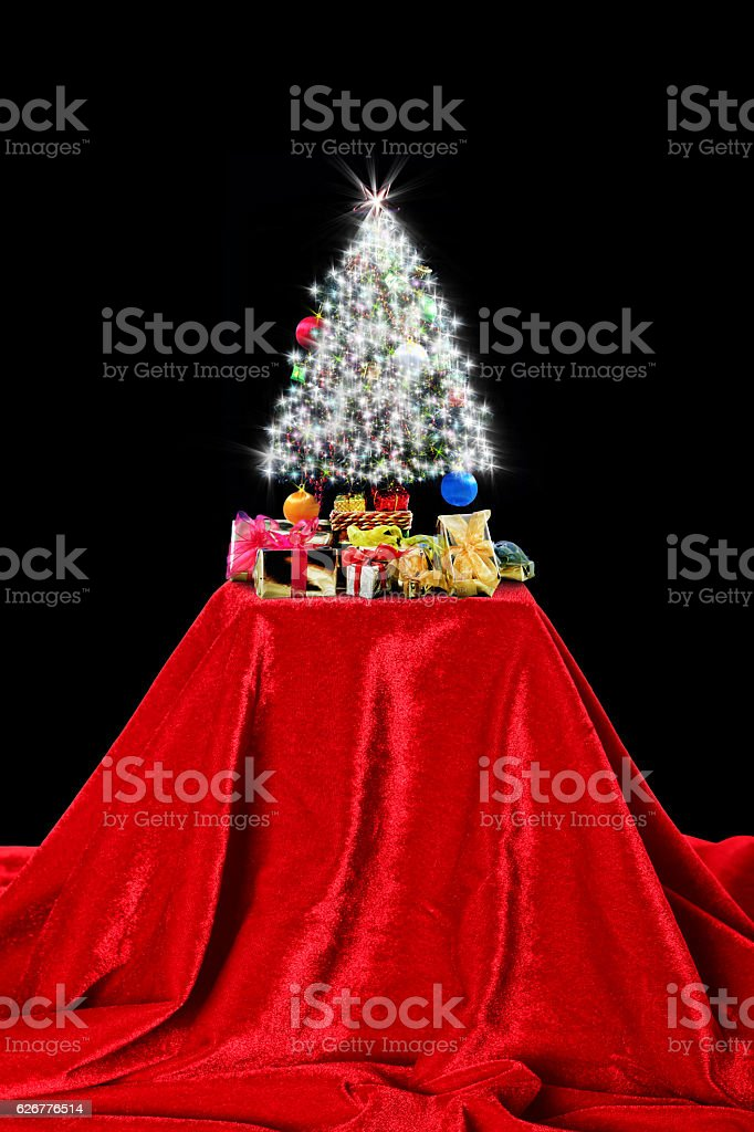 Christmas tree exhibition stock photo