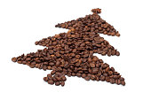 Christmas tree from coffee beans
