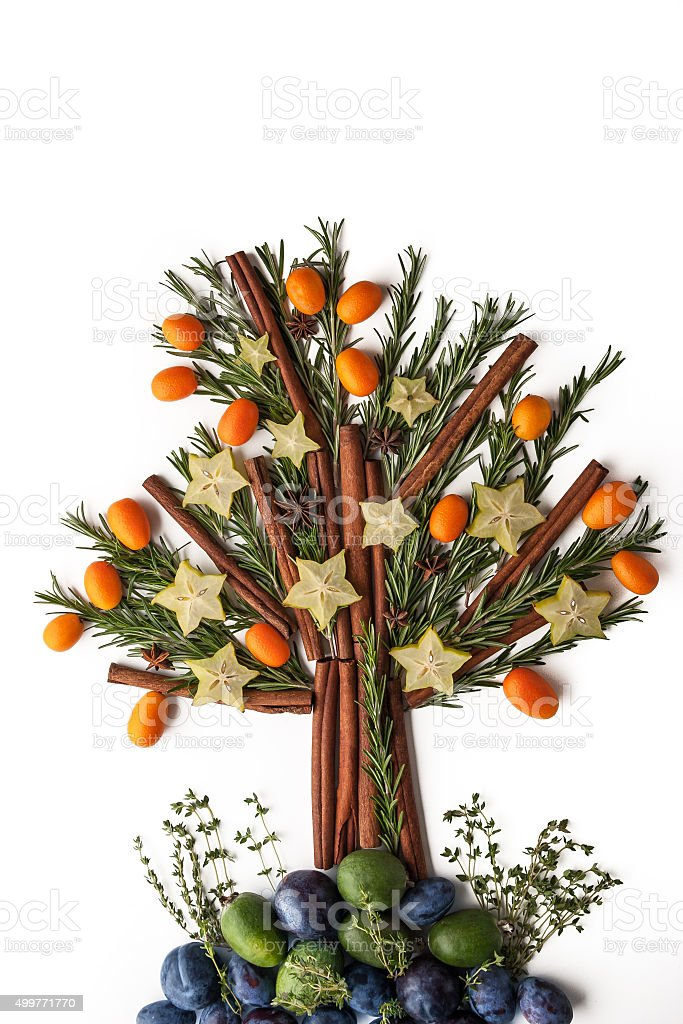 Christmas tree from seasoning , fruit and spices stock photo