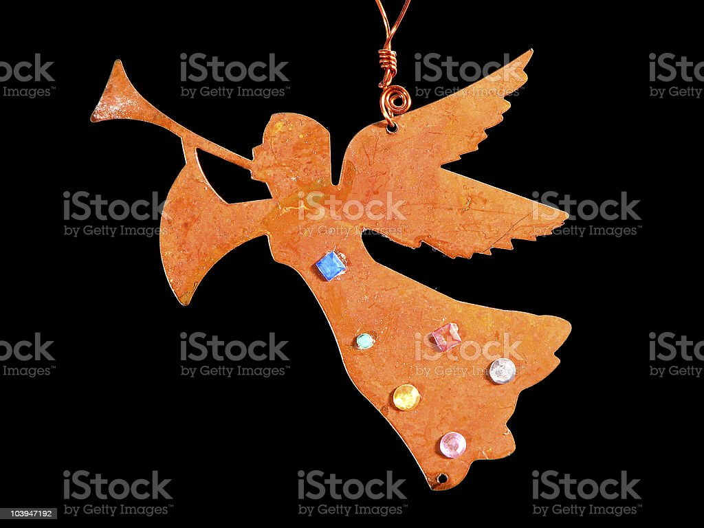 Christmas tree golden angel ornament royalty-free stock photo