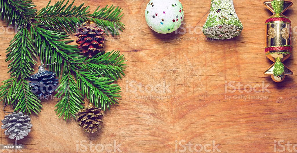 Christmas tree  Green twig and a bell ball stock photo