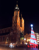 Christmas tree illuminated at night. Market Square Krakow