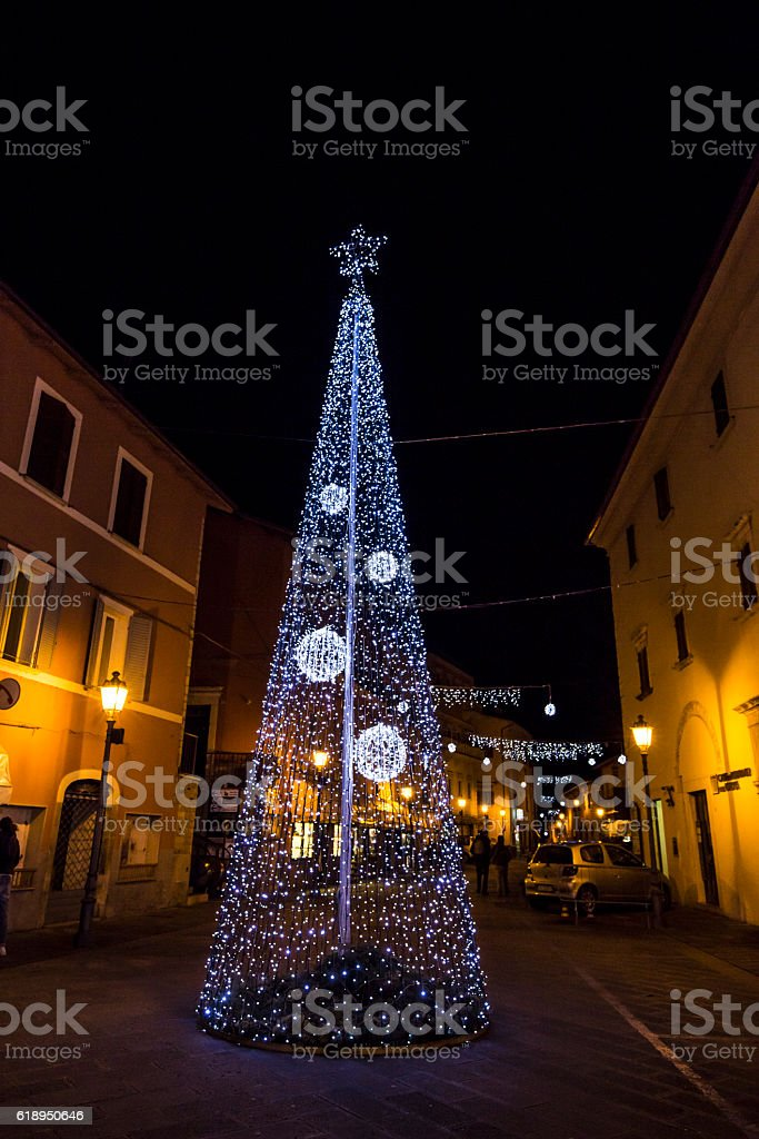 Christmas tree in Cascia in Umbria, Italy. stock photo