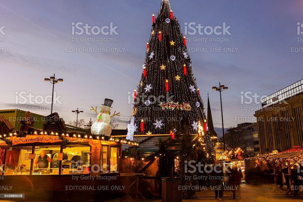 Christmas tree in Dortmund, Germany stock photo