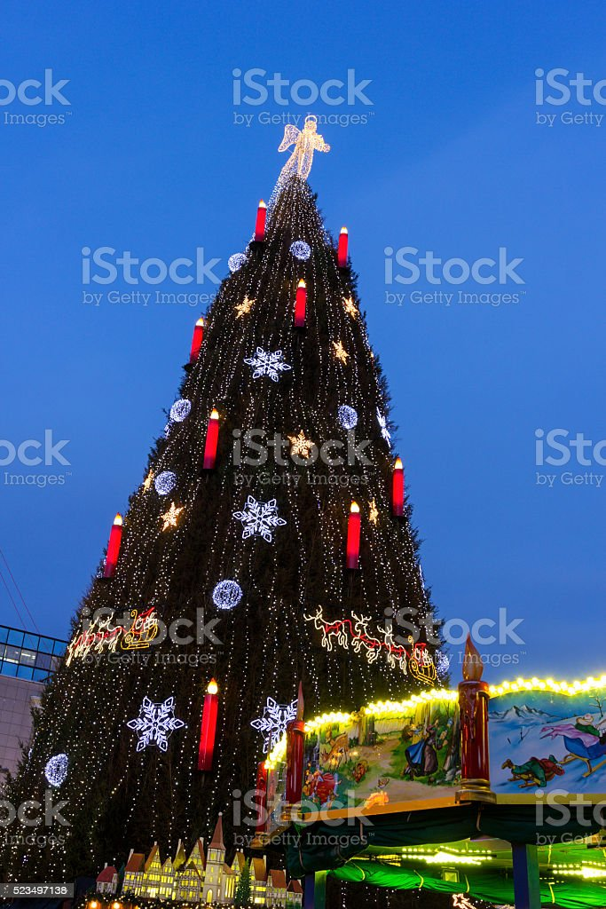 Christmas tree in Dortmund in Germany stock photo