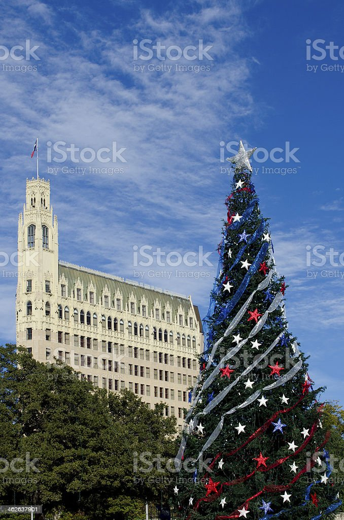 Christmas Tree in Downtown San Antonio stock photo