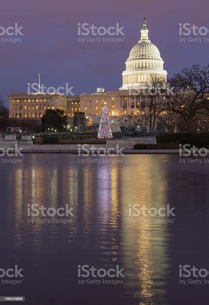 Christmas tree in front of Capitol Washington DC royalty-free stock photo