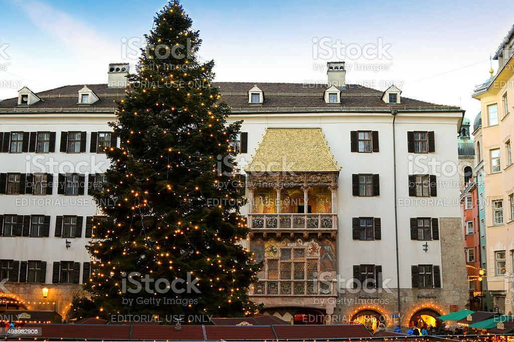 Christmas tree in front of Golden Roof in Innsbruck, Austria stock photo