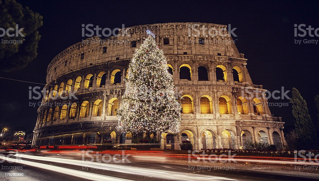 Christmas Tree in front of the Coliseum royalty-free stock photo