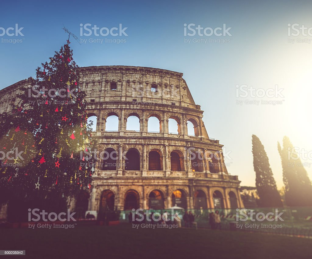 Christmas Tree in front of the Coliseum stock photo