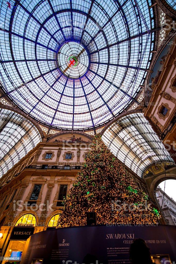 Christmas Tree in Galleria Vittorio Emanuele II, Milan stock photo
