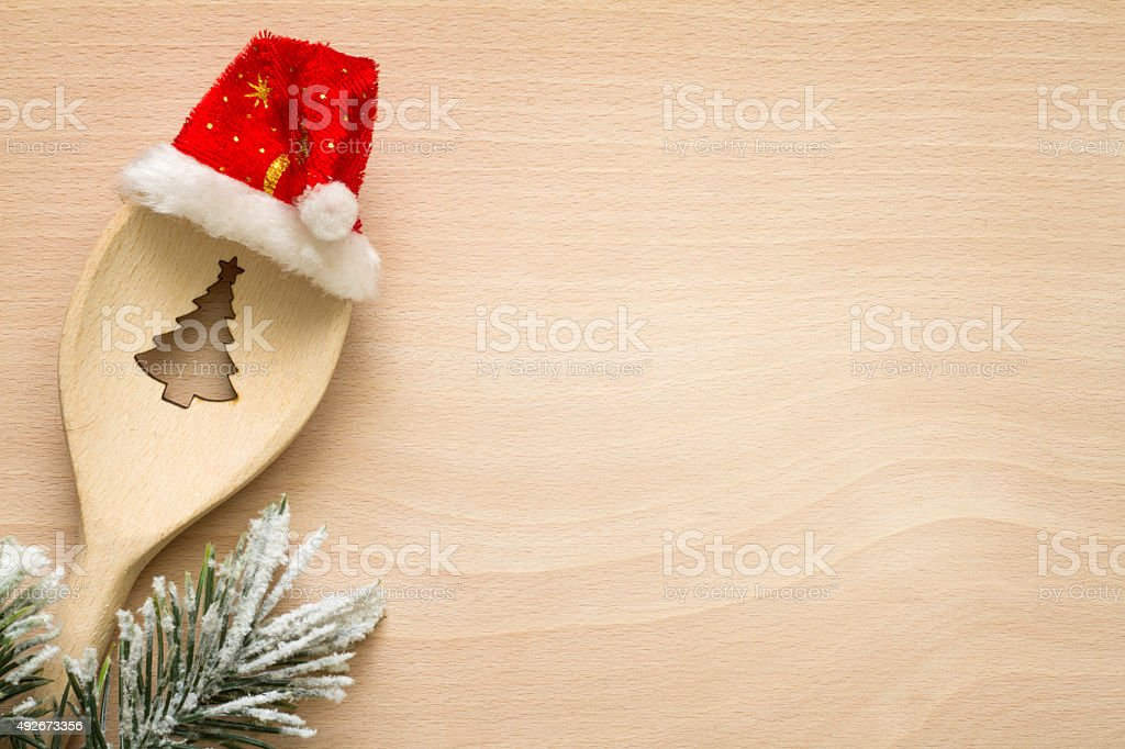 Christmas tree in spoon abstract food background concept stock photo