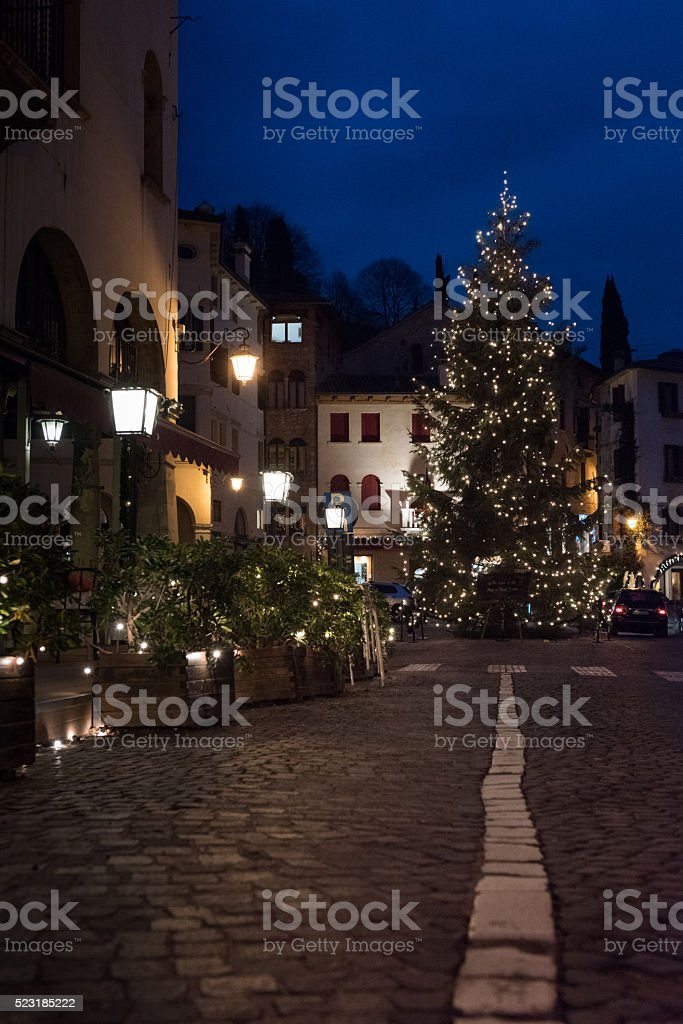 Christmas tree in the center of Asolo stock photo