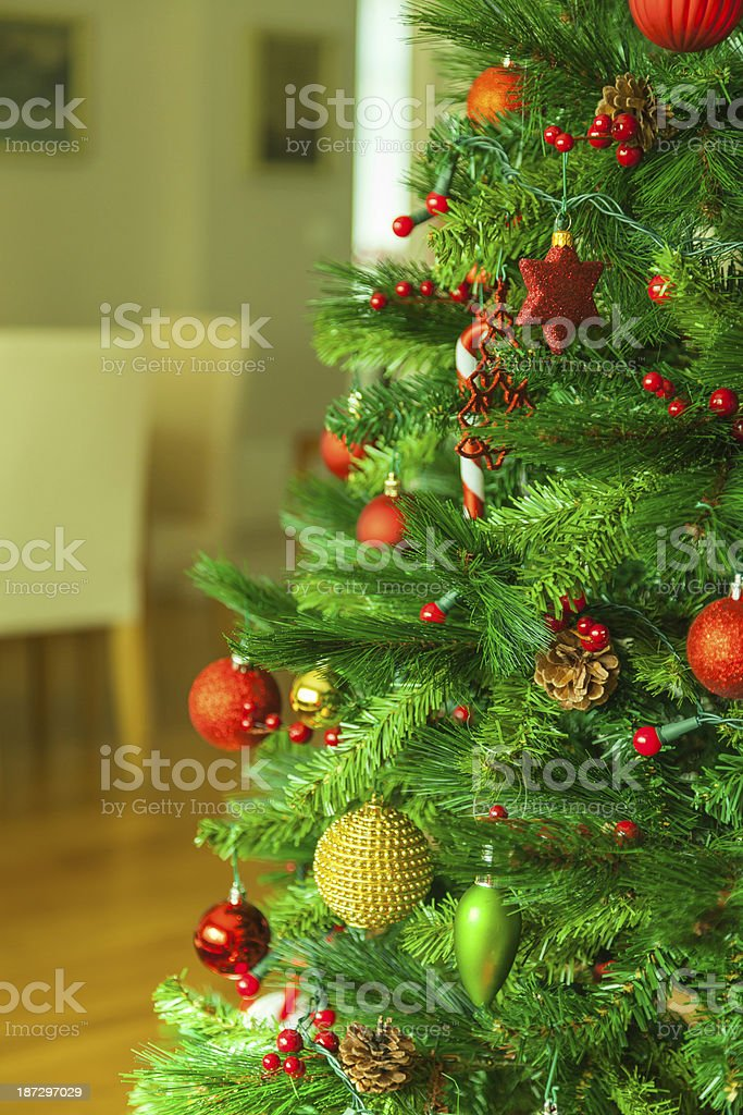 Christmas tree in the home interior royalty-free stock photo