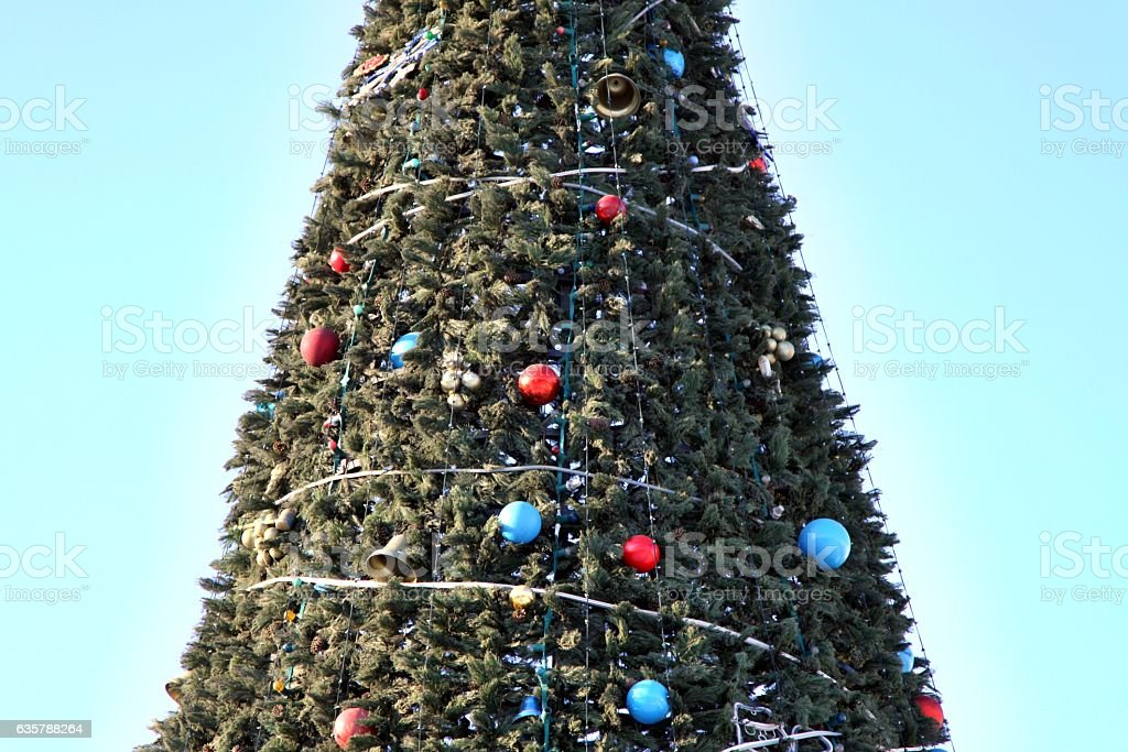 Christmas tree in the town square of Chelyabinsk. Close up. stock photo