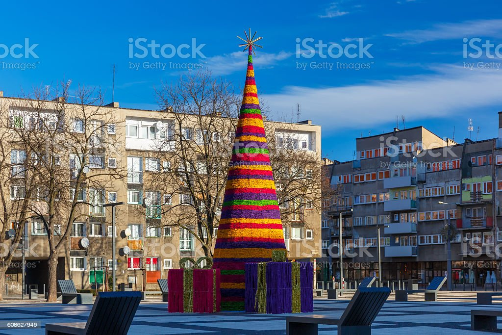 Christmas tree in Wroclaw, Poland stock photo