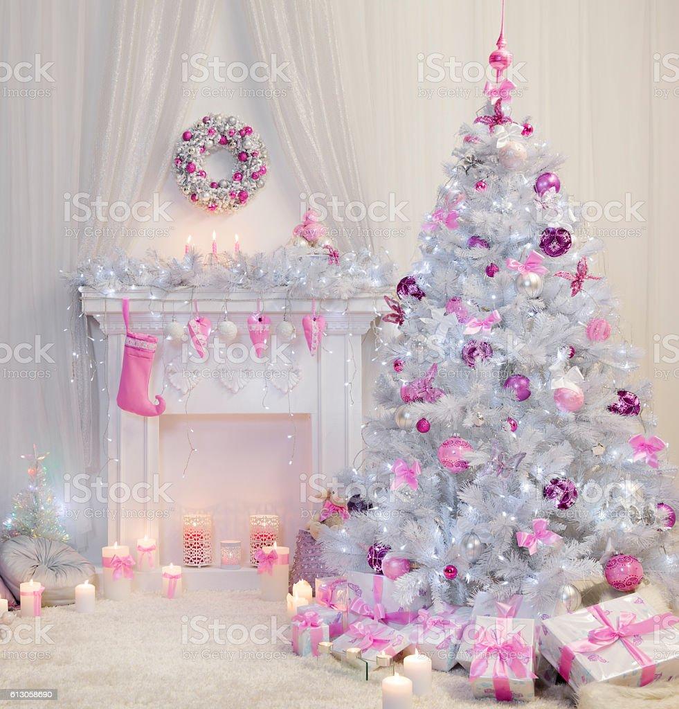 Christmas Tree Interior, Xmas Fireplace, Pink White Decorated Indoor stock photo