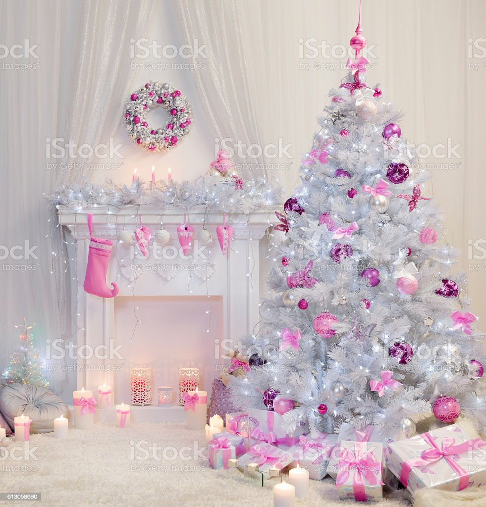 Christmas Tree Interior, Xmas Fireplace, Pink White Decorated Indoor stock photo