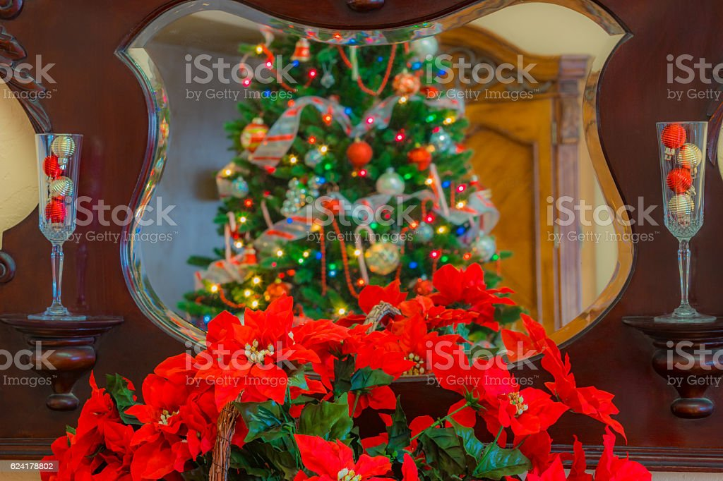 Christmas tree is reflected in antique mirror with Poinsettias(P) stock photo