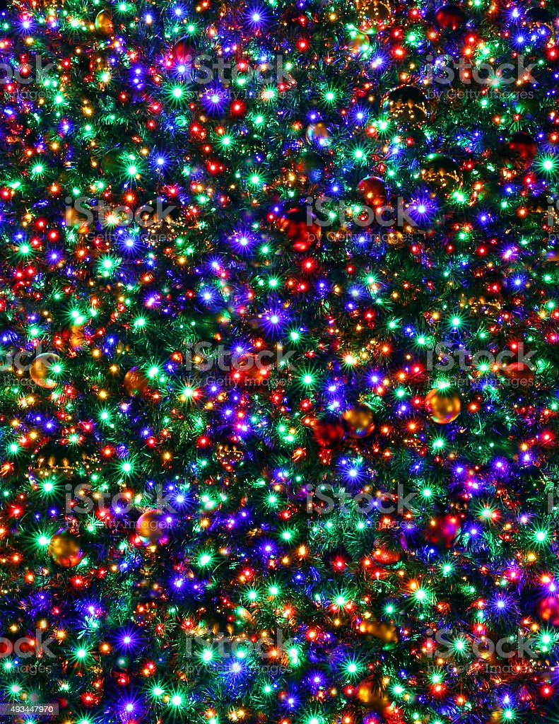 Christmas Tree Lights Night Multicolored Background Long Exposure royalty-free stock photo