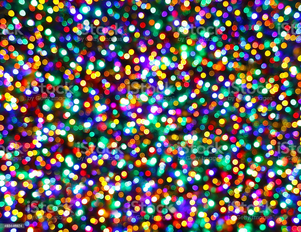 Christmas Tree Lights Night Multicolored Bokeh Background royalty-free stock photo