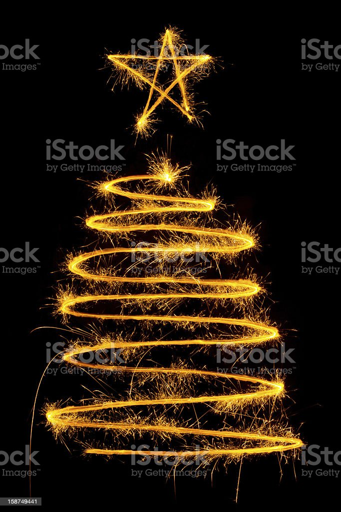 Christmas tree made by sparkler royalty-free stock photo