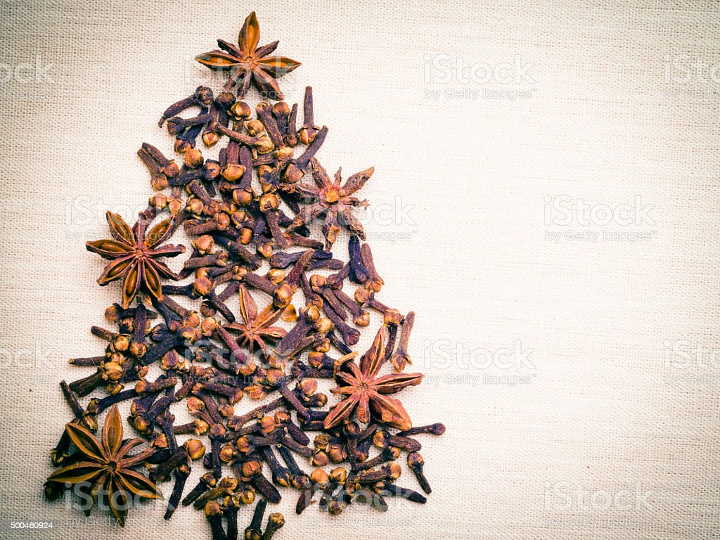 Christmas tree made from spices stock photo
