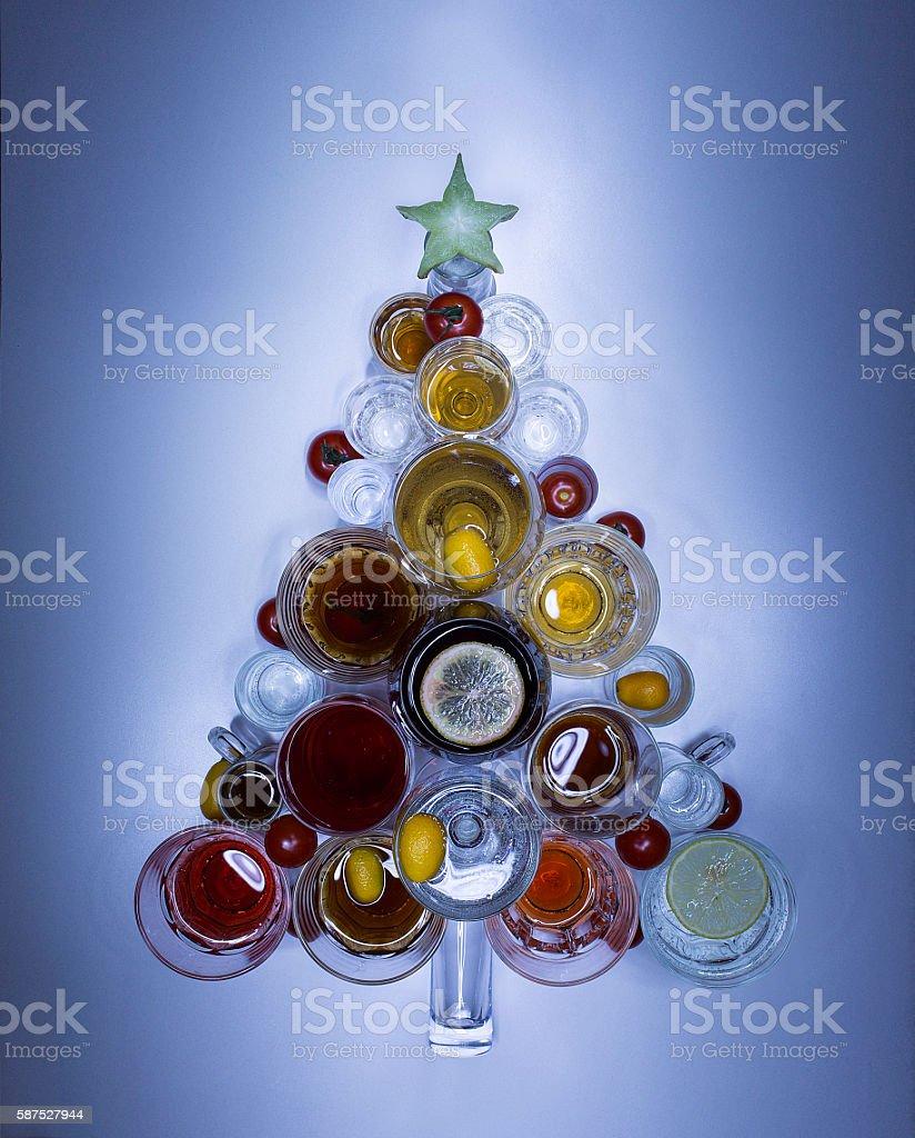 Christmas tree made of drinks. close up stock photo