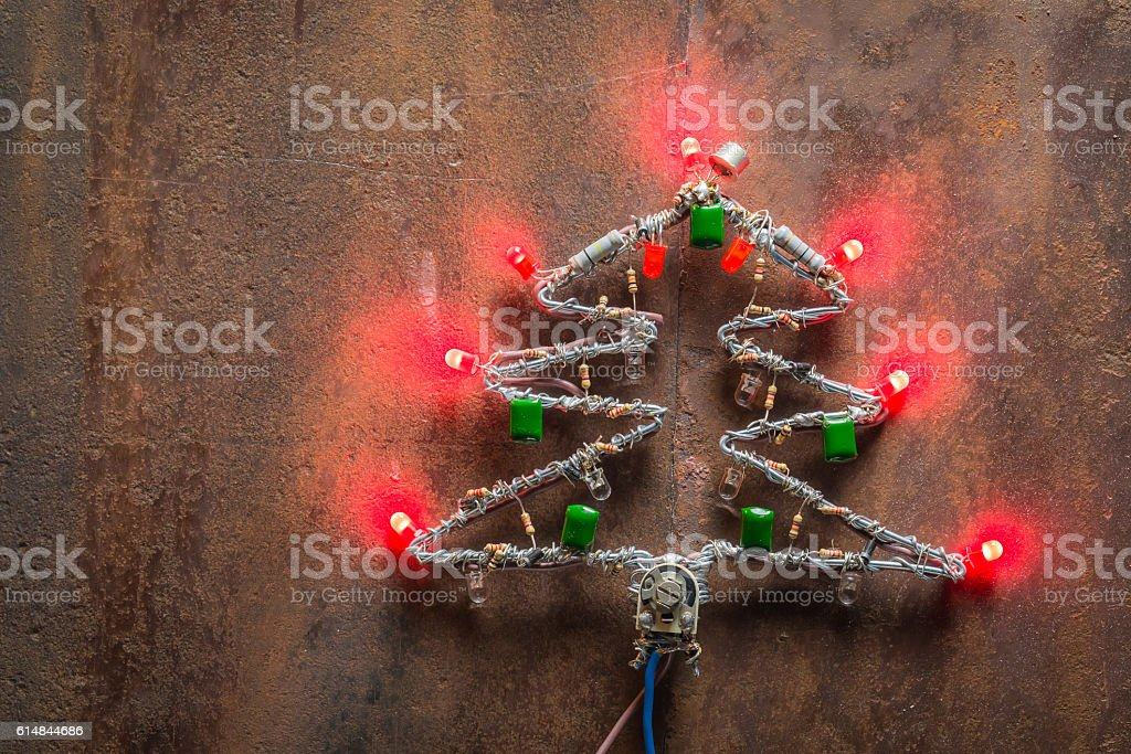 Christmas tree made of electronic components and led stock photo