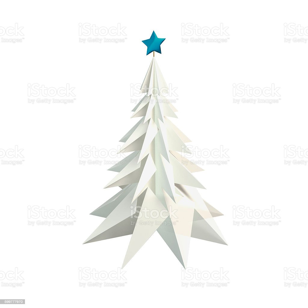 Christmas tree made of paper isolated stock photo