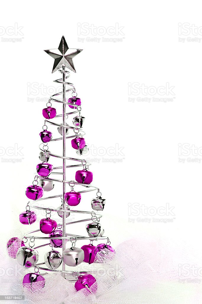Christmas tree made out of pink and silver jingle bells royalty-free stock photo