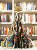 Christmas tree made with book pages