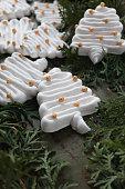 Christmas tree meringue cakes on rustic green table