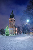 Christmas tree near Cathedral in Turku in Finland