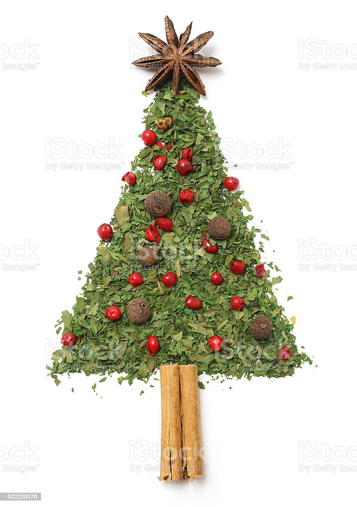 Christmas tree of herbs and spices stock photo
