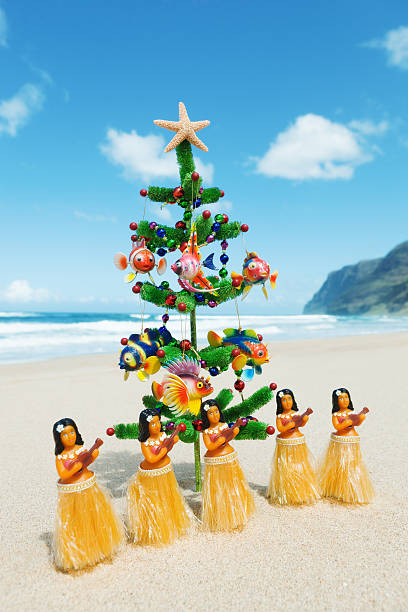 Christmas Tree On Beach With Hula Dancers In Hawaii Stock Photo
