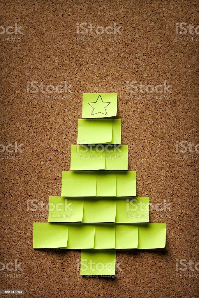 Christmas tree on Corkboard royalty-free stock photo