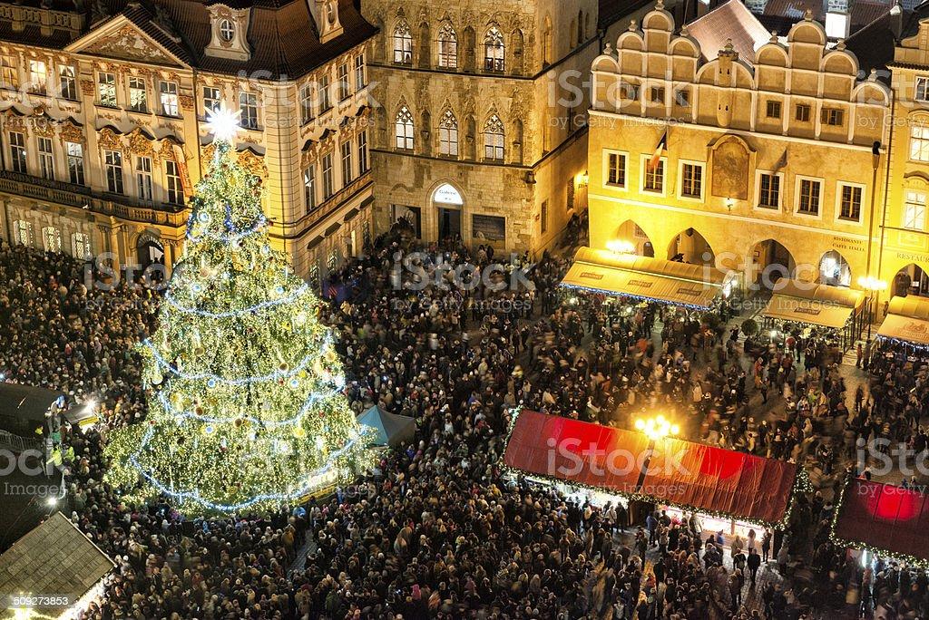 Christmas tree on Oldtown Square stock photo
